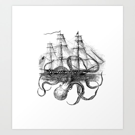 Octopus Attacks Ship on White Background by paperrescuedesigns