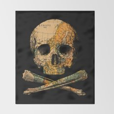 Treasure Map Skull Wanderlust Europe Throw Blanket
