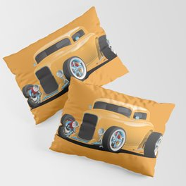 Classic American 32 Hotrod Car Illustration Pillow Sham