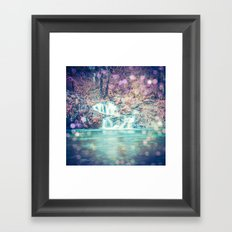 Waterfall Nature Water - Magical Teal Blue Waterfall in Washington Framed Art Print