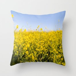 Bright yellow spring flowers pattern blue sky photography Throw Pillow