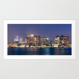 Boston Skyline at Night Art Print