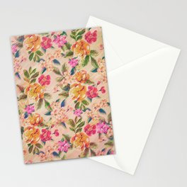 Golden Flitch (Digital Vintage Retro / Glitched Pastel Flowers - Floral design pattern) Stationery Cards