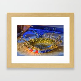 Beer? Beer splashing into a beer cap Framed Art Print