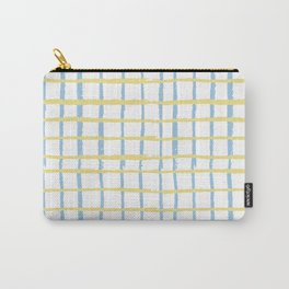 Pastel yellow teal watercolor geometrical checker stripes Carry-All Pouch