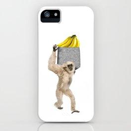 Gibbon Monkey Reaching For Banana In Fake Pocket Cool Animal Pun iPhone Case