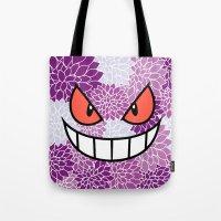 gengar Tote Bags featuring Floral Gengar by Mischievie