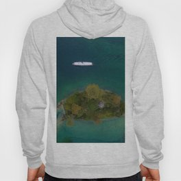 königssee waterfall alps bayern forrest drone aerial shot nature wanderlust boat mountains island Hoody