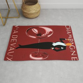 Vintage Champagne Red Veuve A. Devaux, Paris, France Jazz Age Roaring Twenties Advertisement Poster Rug