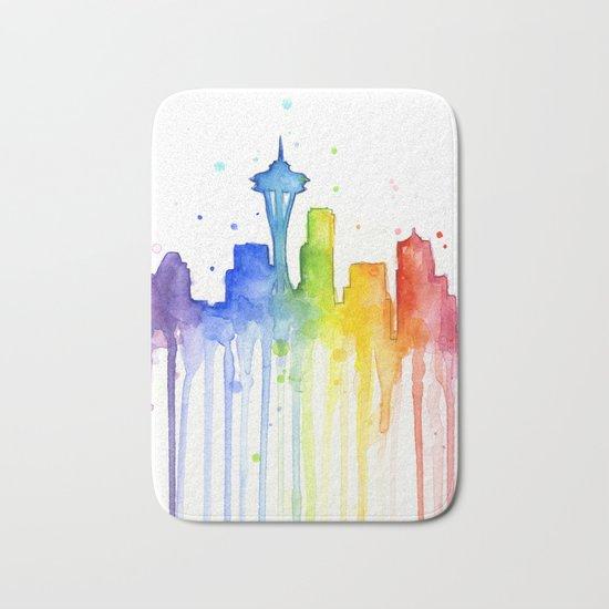 Seattle Skyline Rainbow Watercolor Bath Mat