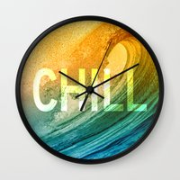 chill Wall Clocks featuring Chill by SURFskate