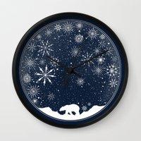 globe Wall Clocks featuring Snow Globe by Tobe Fonseca