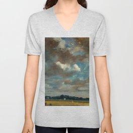 "John Constable ""Extensive Landscape with Grey Clouds"" Unisex V-Neck"