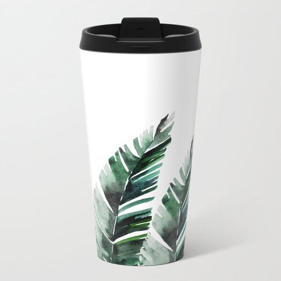 Areca Palm Metal Travel Mug