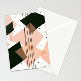 Mid Century Modern Rain Dance- Salmon, Black, and White Stationery Cards