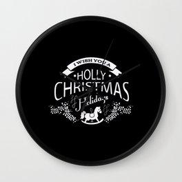 Festive Holly Christmas Holiday Design Wall Clock