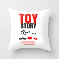toy story Throw Pillows featuring Toy Story Movie Poster by FunnyFaceArt