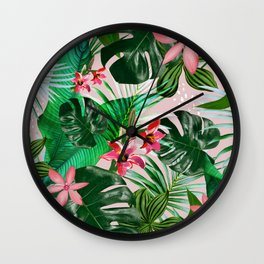 Tropical palm leaf with red flowers Wall Clock