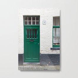 Green Door, Bruges Metal Print