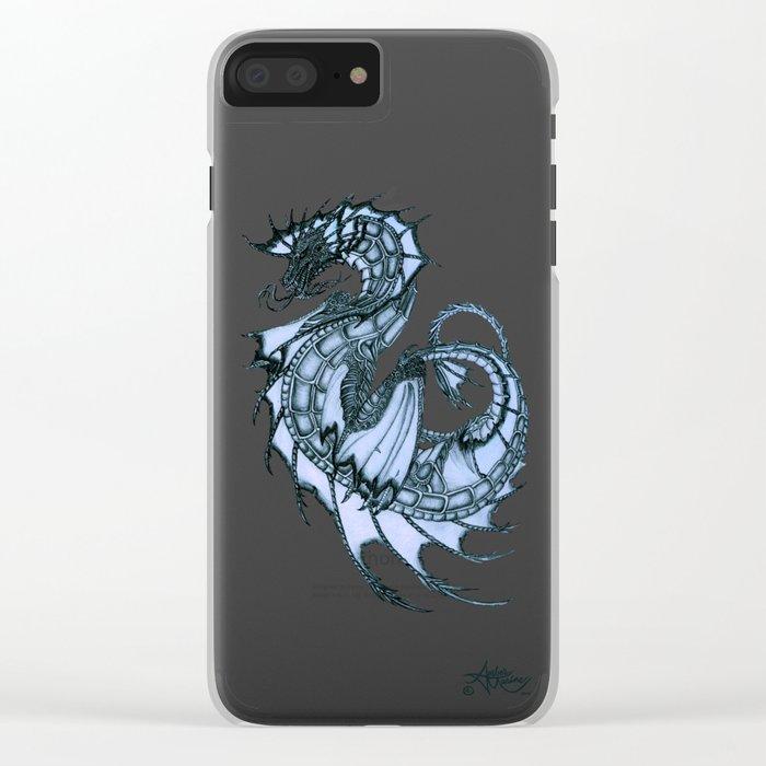 """Tsunami"" by Amber Marine ~ Sea Dragon (Ice Blue Version) ~ Graphite Illustration, (Copyright 2005) Clear iPhone Case"