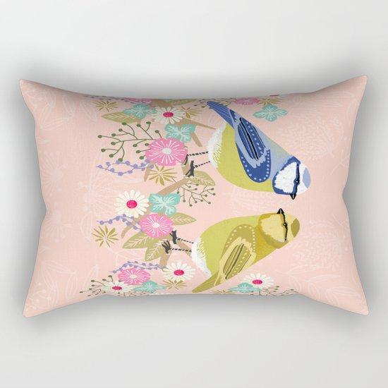 Love Birds valentines day birding illustration florals spring love by Andrea Lauren  Rectangular Pillow