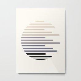 Mid Century, Modern, Minimalist, Circle, Round Photo, Grey, Staggered Stripe, Pattern Metal Print