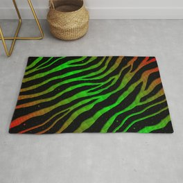 Ripped SpaceTime Stripes - Red/Green Rug