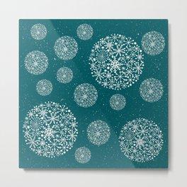 Snowflakes Teal #society6 #buyart Metal Print
