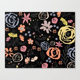 Floral Collage on Black Canvas Print