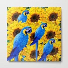 YELLOW SUNFLOWERS & BLUE MACAW PATTERN Metal Print