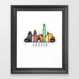 Austin Texas Colorful Silhouette Framed Art Print