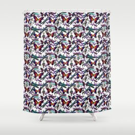 Dragonfly and Monarch Butterfly Fantasy Shower Curtain