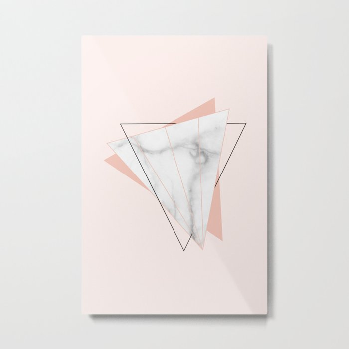 White Marble Geometric Triangle Shapes Salmon Pink Metal Print