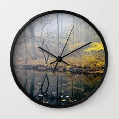 mist on the river Wall Clock