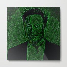 Elon Musk Smiling Artistic Illustration Code Matrix Style Metal Print