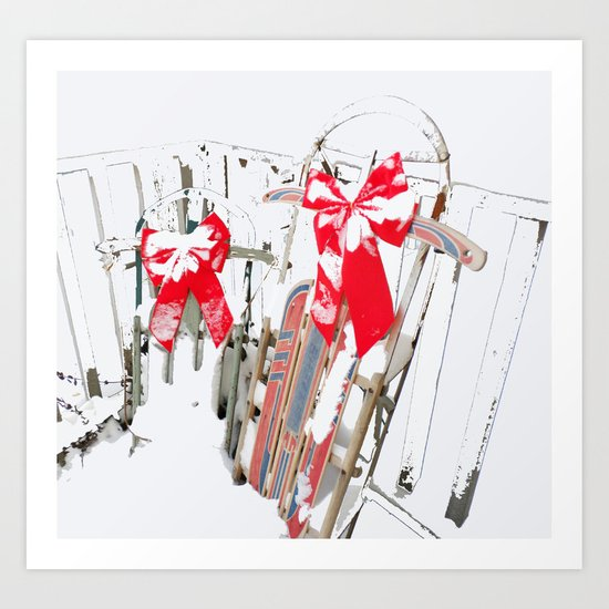 Sleds in the Snow Art Print