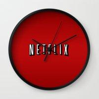 netflix Wall Clocks featuring Netflix Logo by TParish Productions