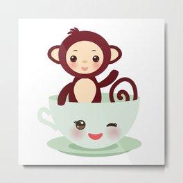 Cute Kawai pink cup with brown monkey Metal Print