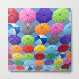 Myriads of Colorful Umbrellas Floating in the Sky portrait painting Metal Print