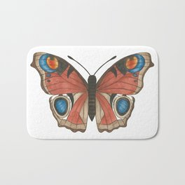 Peacock Butterfly Illustration Bath Mat