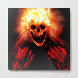 skull on fire Metal Print