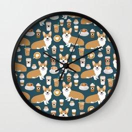Corgi coffee welsh corgis dog breed pet lovers blue corgi crew pet lovers Wall Clock