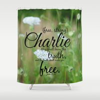 charlie Shower Curtains featuring Charlie by KimberosePhotography