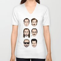 cage V-neck T-shirts featuring Cage by Matthew Brazier Illustration