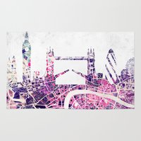london map Area & Throw Rugs featuring LONDON Skyline + map by Map Map Maps