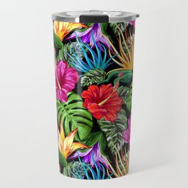 Tropical Flora Summer Mood Pattern Travel Mug