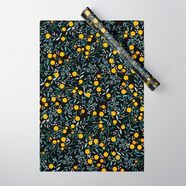 Oranges Black Wrapping Paper