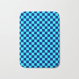 Cyan and Navy Blue Checkerboard Bath Mat