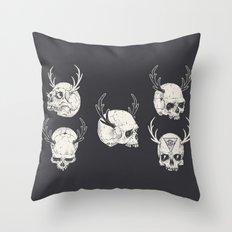 skulls & horns Throw Pillow