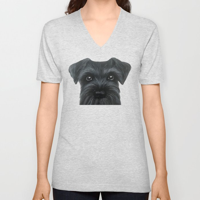 New Black Schnauzer, Dog illustration original painting print Unisex V-Neck